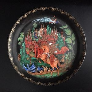 Russian Porcelain Plate Palekh Handpainted Signed
